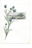 15051 - Petite Aquarelle  Bleuets Fleurs Et Paysage De Montagne (format 13 X 9) - Aquarelles