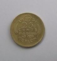 25 Cents 1951 Bronze De Nickel CEYLON    SRI LANKA Ex CEYLAN Georges VI - Sri Lanka