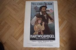Schokoladen-Anzeige- Wien -Tell-Chocolade-Hartwig&Vogel-Hofliereralten Plakat Eines Magazins Illuftrirte Zeintung 1906 - Chocolat