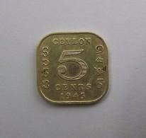 5 Cents 1945 Bronze  CEYLON   SRI LANKA Ex CEYLAN Georges VI - Sri Lanka