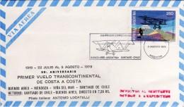 Argentina 1979 50° Primer Vuelo Transcontinental Buenos Aires Santiago (Chile) Aerofilatelia Annullo Busta Vg - Flugzeuge