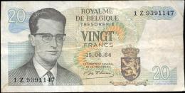 Bankbiljet Belgie Belgique 20 Frank Francs - 15.6.1964 - [ 2] 1831-...: Belg. Königreich