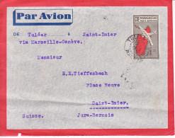 ENTIER -POUR LA SUISSE - ST IMIER - 1937 - PAR AVION - - Madagascar (1960-...)