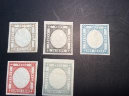 Italie Italia Italy Antichi Stati NAPOLI PROVINCE NAPOLETANE 1861 5 OLD REPRINTS, FORGERY FAUX FALSCH - Neapel