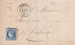 202 -  CERES 60  -  LAC  - 24.10.73   -  TARBES  -  TOULOUSE - Postmark Collection (Covers)