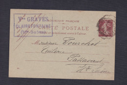 Entier Postal 139 CP  Semeuse 20c Vve Graves Clairefontaine Vers Tuilerie Pourchot Passavant - Postal Stamped Stationery