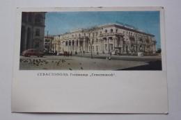 "UKRAINE VC RUSIA. SEVASTOPOL. Hotel ""Sevastopol""  -  Old  Postcard 1965 - TAXI CAR - Taxi & Carrozzelle"