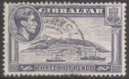 Gibraltar. 1938-51 KGVI. 1½d Grey Used. SG123b - Gibraltar