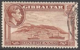 Gibraltar. 1938-51 KGVI. 1d Used. P13½ Upright W/M SG122a - Gibraltar