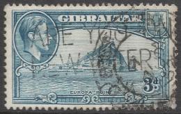 Gibraltar. 1938-51 KGVI. 3d Used. P13 SG125b - Gibraltar