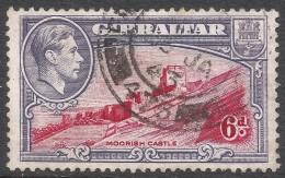 Gibraltar. 1938-51 KGVI. 6d Used. P13 SG123b - Gibraltar