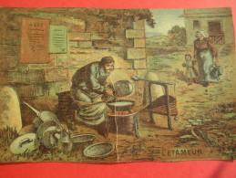 Chromo/Gravure/Métiers Du XIXéme/Image Pédagogique/L'Etameur/LEFEVRE/Vers 1870-1880      GRAV92 - Chromos