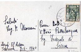 CARTOLINA POSTALE-LIBIA-CANTATRICE ARABA-CENT.20 LIBIA-DALL'AEROPORTO MILITARE DI EL ADEM-TOBRUCH-7-6-1940 - Libia