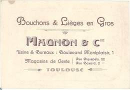 Carte Commerciale – Bouchons & Lièges En Gros Magnon & Cie, Toulouse - Publicités