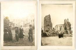 2 Photos Arras 1920, Hôtel De Ville, Beffroi, … - Guerre, Militaire