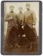 Photo Sur Carton, 3 Soldats - Guerre, Militaire