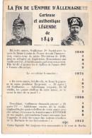 LA FIN DE L'EMPIRE D'ALLEMAGNE !!! Curieuse Et Authentique Légende De 1849 - Other Wars