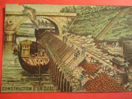 Chromo/Gravure/Métiers Du XIXéme/Image Pédagogique/Construction D'un Quai/LEFEVRE/Vers 1870-1880      GRAV125 - Trade Cards