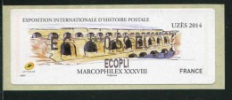 "Timbre** De Dist. De 2014 ""EC ***0,59  € - ECOPLI -  Eposition Internationale D'Histoire Postale -UZES"" - 2010-... Abgebildete Automatenmarke"