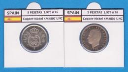 SPAIN /JUAN CARLOS I    5  PESETAS  1.975 #76   Cu-Ni   KM#807   SC/UNC  T-DL-9387 - [ 5] 1949-… : Royaume