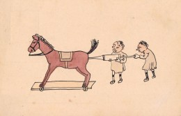 ENFANT Et CHEVAL EN BOIS / CHILD And WOODEN HORSE - CARTE DESSINÉE À LA MAIN / HAND PAINTED ! - ESPAÑA ~ 1900 (m-152) - Ante 1900