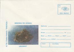 MINERALS, URANIUM, URANINITE, COVER STATIONERY, ENTIER POSTAL, 1996, ROMANIA - Minerals