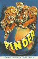 AFFICHETTE CIRQUE PINDER LIONS TIGRE ILLUSTRATEUR TONI - Posters