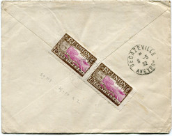 REUNION LETTRE RECOMMANDEE AVEC AFFRANCHISSEMENT AU VERSO DEPART SAINTE-SUZANNE 1-4-32 REUNION POUR LA FRANCE - Réunion (1852-1975)