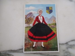 CPA FANTAISIE BRODEE  COSTUME DAUPHINE FEMME ELSI - Brodées