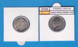 SPANIEN /JUAN CARLOS I    5  PESETAS  1.975 #78   Cu-Ni   KM#807  SC/UNC   T-DL-9390 - 5 Pesetas