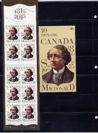 CANADA 2015, # 2804a, Sir John A. Macdonald - Permanent™ Domestic Stamps - Booklet Of 10 - Full Booklets