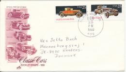 USA Cover Sent To Denmark Portland 15-12-1988 Topic Stamps CARS Nice Postmark - Etats-Unis