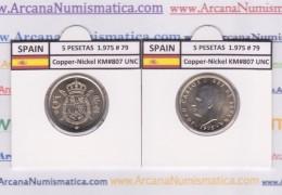 SPANIEN /JUAN CARLOS I    5  PESETAS  1.975 #79   Cu-Ni   KM#807  SC/UNC   T-DL-9391 - 5 Pesetas