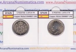 SPAIN /JUAN CARLOS I    5  PESETAS  1.975 #79   Cu-Ni   KM#807  SC/UNC   T-DL-9391 - [ 5] 1949-… : Royaume