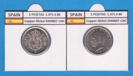 SPAIN /JUAN CARLOS I    5  PESETAS  1.975 #80   Cu-Ni   KM#807  SC/UNC   T-DL-9392 - 5 Pesetas