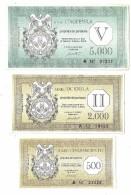 Italy SIMEC Test Of Currency Lot 500 / 2000 / 5000 Lire - Otros