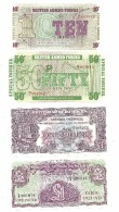 British Armed Forces Set Of 4 Banknotes ALL SAME LOW S/N 001013 UNC - Forze Armate Britanniche & Docuementi Speciali