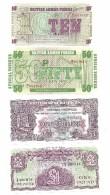 British Armed Forces Set Of 4 Banknotes ALL SAME LOW S/N 001013 UNC - Emissioni Militari