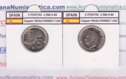 ESPAGNE /JUAN CARLOS I    5  PESETAS  1.980 #80   Cu-Ni   KM#817  SC/UNC   T-DL-9393 - [ 5] 1949-… : Royaume