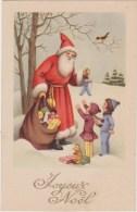 """Illustrateur  """"joyeux Noël """" Père Noël  Neige, Hotte,enfants,marionette,ours Peluche, Oiseau,Neuve  J L P - Illustrators & Photographers"""