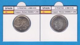 SPAIN /JUAN CARLOS I    5  PESETAS  1.980 #81   Cu-Ni   KM#817  SC/UNC   T-DL-9394 - 5 Pesetas