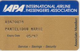 USA - IAPA Member Card, Exp.date 05/97, Used - Vliegtuigen