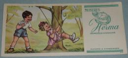 Rare Ancien BUVARD Publicitaire Montres HERMA, Montre, Enfants Sur Balançoire, Style Germaine Bouret - Buvards, Protège-cahiers Illustrés