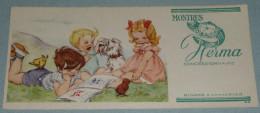 Rare Ancien BUVARD Publicitaire Montres HERMA, Montre, Enfants Chien Poussin Fillette Garçon, Style Germaine Bouret - Buvards, Protège-cahiers Illustrés