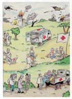 Illustrateur Philippe Burel--Croix-Rouge Française-Actions Lors Des Conflits Armés--timbre Rouge Gorge - Künstlerkarten