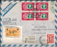 ARGENTINIEN 1968 - Luftpost Rekobrief Mit MiNr:867+1013 4er SStmp. - Argentinien