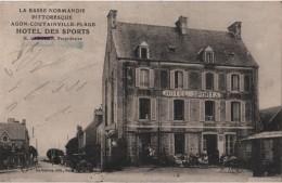 CPA 50 AGON COUTAINVILLE PLAGE HOTEL Des SPORTS GAUCHER Ou BALLA VOISNE POMPE à ESSENCE Automobile - Unclassified