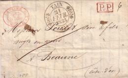 DROME - TAIN - T11 LE 23 FEVRIER 1832 - T11 +PP INDICE 13 COTE 120€ - CACHET COMMERCIAL ROUGE LA PEINE ET CIe TAIN. - Marcophilie (Lettres)