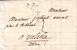 DROME - 25 TAIN - LE 20 FEVRIER 1823 - LETTRE AVEC TEXTE ET SIGNATURE POUR VALENCE. - Marcophilie (Lettres)