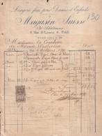 Famille De MERODE WESTERLOO Facture Achats De Vêtements à PAU En 1897 - Belgio